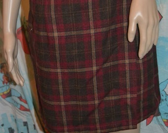 Vintage 90s Old Navy Red Plaid Wool Blend Wrap Mini Skirt