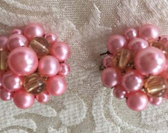 Vintage Pink Cluster Clip On Earrings 1950s