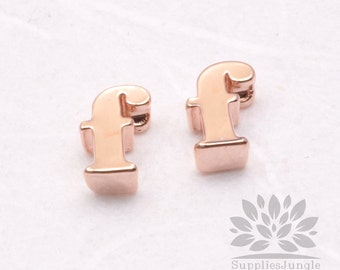 """IP003-GRG-F// Glossy Rose Gold Plated Simple Lower Case Initial """"f"""" Pendant, 2 pcs"""