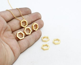 Gold Plated Hexagon Pendant, 10mm initial Pendant, Geometric Charms, Hexagon, Gold Plated Pendant , MTE125