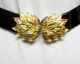 Vintage Women's Belt - Black 1976 Patent Leather Belt with gold toned leaf buckle adjustable size XS/S