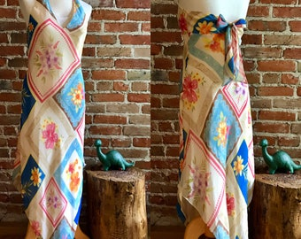 Vintage 1990's Laundry Shelli Segal All Silk Halter Slip Handkerchief Hem Boho Dress, Floral Print, Hippie Couture, Bohemian