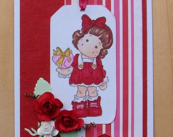 St Valentine love Red White magnolia flowers jelly rubber stamp card