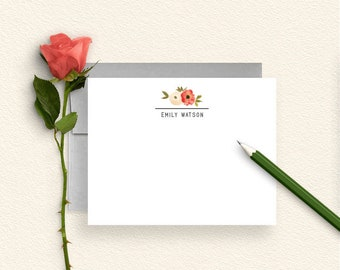 Floral Personalized Stationery, Personalized Stationary, Floral Note Cards, Stationery Set, Mothers Day, Thank You Cards, Flowers, FL22