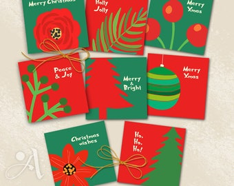 Eight 3.8x3.8 inch size printable Christmas images for coasters, greeting cards, party, paper craft, gifting, instant download by ArtCult