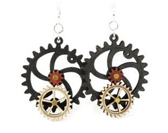 Gear Earrings that move - made from wood - hugo steampunk style #5001B