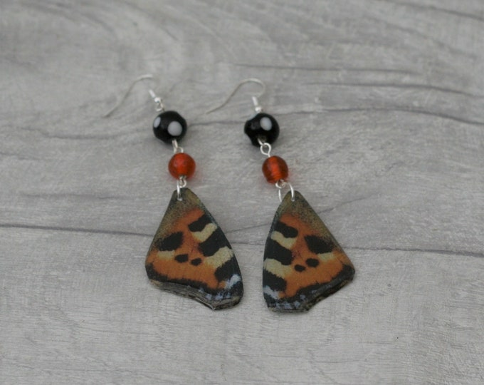 Tortoiseshell Butterfly Earrings, Orange Butterfly Illustration, Dangle Earrings
