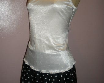 Cute 2 Piece Cream White Top with Black and White Polka Dot Skirt Swim Suit Cover Up Size Meduim
