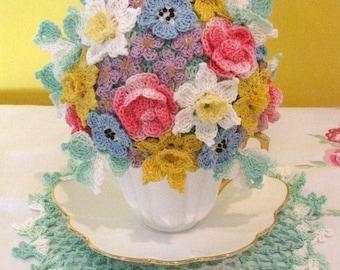 PDF Crochet Pattern- Springtime Tea Cup Bouquet