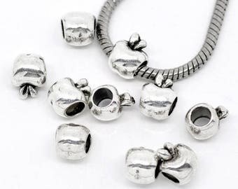 Apple (x 4) silver plated spacer bead