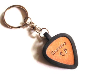 Copper guitar pick keychain for Grandpa - fresh from the bench