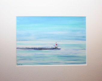 Petoskey (Michigan) Light: Northern Michigan light on Little Traverse Bay. Oil Pastel.