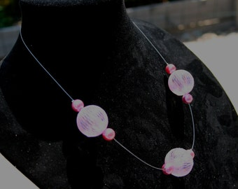 Pink Balls Invisible Necklace