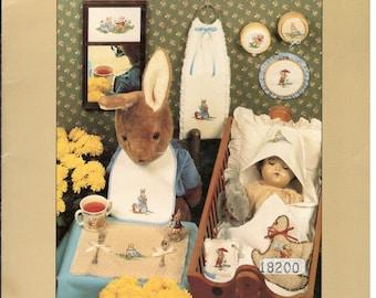 BunnyKins Counted Cross Stitch Patterns  Rabbit Patterns Rocking Horse June Grigg 1984  BK204