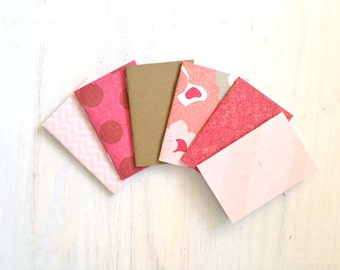 Notebooks: Tiny Journals, Small Notebooks, Pink, Polka Dot, Floral, For Her, Shower, Gift, Unique, Cute Notebooks, Favors, Wedding, T128
