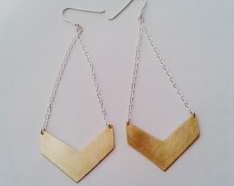 Chevron Earrings - Chevron Jewelry - Brass Chevron - Custom Earrings