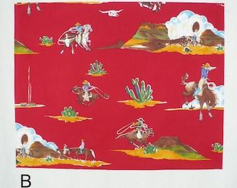 Western Fabric, Alexander Henry, Vintage fabric, Red, FQ, Cowboy, OOP