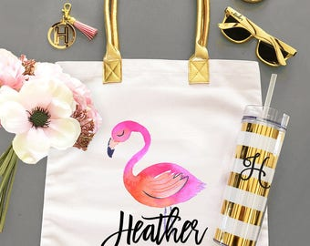 Flamingo Tote Bags Flamingo Bachelorette Party Bags Tropical Bachelorette Party Bag Flaming Party Ideas Pink Flamingo (EB3162TPB)
