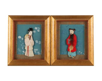 Vintage Hand-painted Silk and Gouache Portraits / Japanese Collage Art