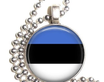 Estonia Flag, Altered Art Pendant, Earrings and/or Keychain, Round Photo Silver and Resin Charm Jewelry, Flag Earrings, Flag Key Fob