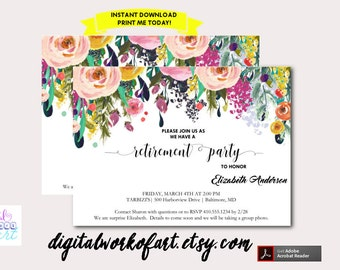 retirement reception invitation template printable diy