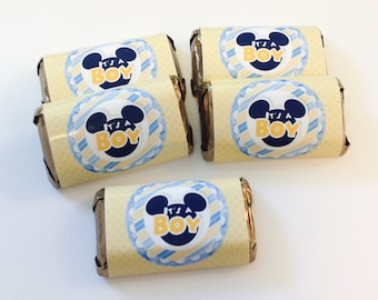 50 Mickey Mouse It's A Boy personalized mini candy bar wrappers baby shower favors party favors bridal favors small gifts