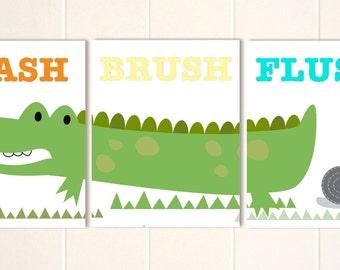 Alligator bathroom, kids bathroom art, boys wall art, crocodile art, wash, flush, brush, set of 3, custom colors
