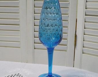 Vintage Turquoise Blue Optic Vase Mid Century Blown Art Glass Pedestal Vase Collectible Flower Vase PanchosPorch
