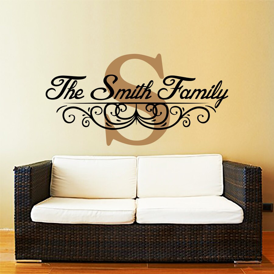 Personalized Family Monogram Decal. Custom Wall Decal. Living