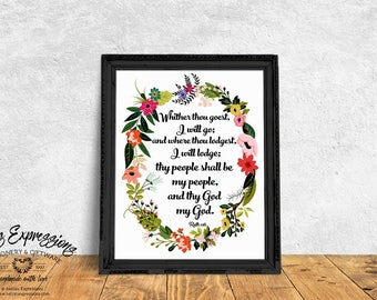 Typography poster, Whither thou goest I will go, Wedding Poster, Floral Wreath, Bible Verse, Religious Print, Wedding Print, Floral Poster