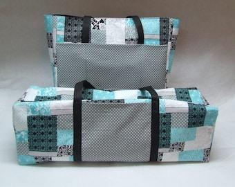 Teal, Black, Gray, White Patchwork Cricut Carrying Case /Silhouette Cameo 3 / Cricut Maker/ Cricut Explore/ Brother ScanNCut / Accessory Bag