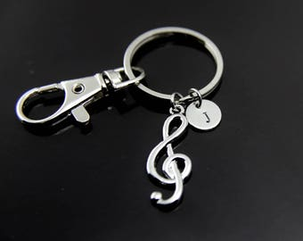Music Gift Orchestras Musician Music Teacher Gift Music Melody Treble Clef Keychain Silver Music Note Charm Personalized Keychain