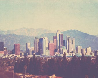 Los Angeles photography, the Big City, downtown skyline California, urban cityscape architecture buildings mountains, i love LA, unisex