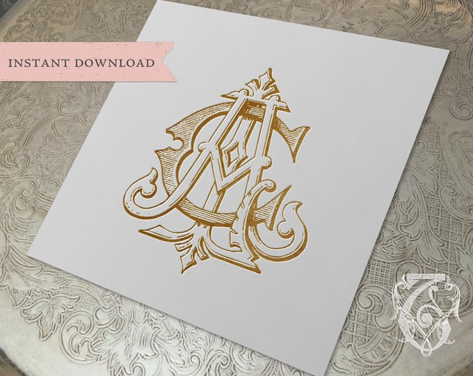 3 Initial Vintage Monogram ACL  Three Letter Wedding Monogram Digital Download CLA  LAC lCa
