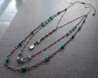 Layered Bohemian Oxidized Sterling Silver Necklace, Multi Strand Apatite Rosary Necklace,Boho Blue Antiqued Silver Delicate Necklace,Pendant