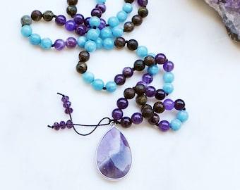 Amethyst, Dragon Bloodstone & Jade Celestial Goddess Mala Necklace With Amethyst Pendant, Mala Beads, Boho Statement Necklace, Yoga Crystals