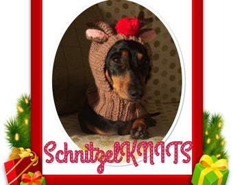 Rudolph the red nose reindeer hood/hat..Christmas fancy dress for dogs dachshund ,yorkie, chihuahua ,pug