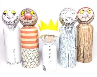 handpainted peg dolls - the storybook collection: where the wild things are peg doll set