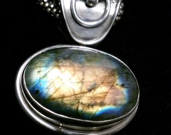 Sterling Silver and Labradorite Pendant On A Sterling Silver Chain