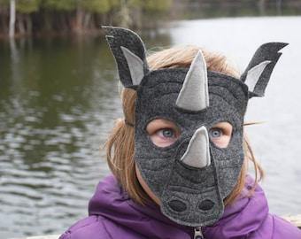 Handmade felt rhino mask