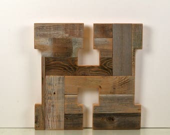 "Reclaimed Wooden Letter Block ""H"" Large - 18 inch Tall Wood Letter H - For Table Top or Hanging - IN STOCK - Same Day Shipping"