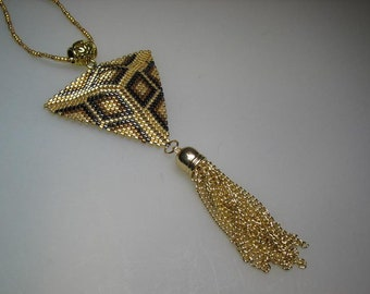 Gold and Bronze Peyote Stitched Glass Seed Bead Necklace Hand Made