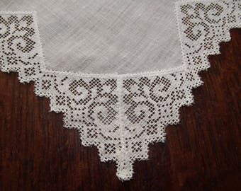 Lace and Linen Wedding Bridal Handkerchief Antique Filet Lace