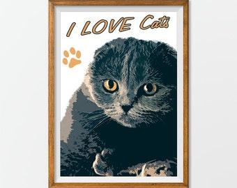 Cat Print Poster Wall Art Printable