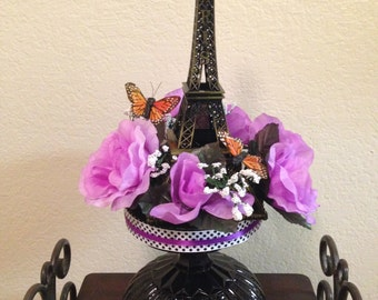 Eiffel Tower Centerpiece with butterflies and flowers for a Paris themed party (BLACK Base)