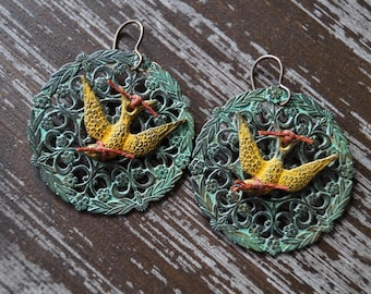 Unlisted - Rustic Filigree Earrings - Sparrow Earrings - Large Earrings - Turquoise Patina - Yellow and Turquoise - Bead Soup Jewelry