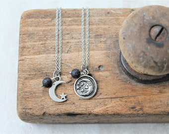 MOMMY & ME moon and stars diffuser necklace set, necklace set for mom and child, moon and stars charm necklace, stainless steel necklace