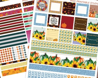 Mini Happy Planner,Thanksgiving day Planner Stickers Printable, Fall Mini Happy planner, Weekly Kit,Printable Sampler,Instant download