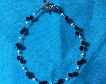 Black crystal beaded danity bracelet.