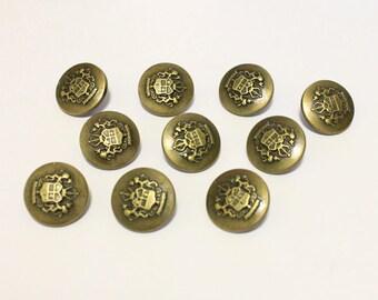 20 Royal Antique Bronze Shank Vintage Hole Buttons 23x23mm